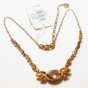 Vintage Givenchy Gold Tone Topaz Strass Necklace